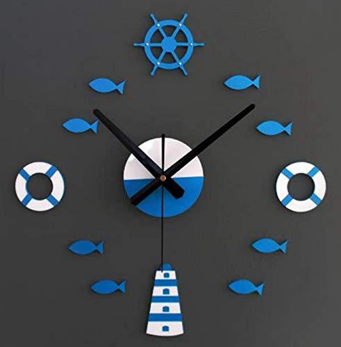 orologio da parete 70 cm diametro DJSK Orologio da Parete Fai da Te Faro timone salvagente Piccoli Pesci Orologi 3D per Soggiorno al Quarzo Muto Decorazioni per la casa Orologio Grande Formato 70-120 cm Blu