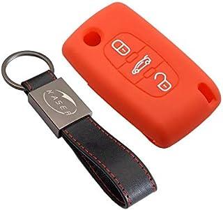Cover Autoschlüssel Hülle für Peugeot Citroen – Schutzhülle Silikon 3 Tasten für 307 207 407 308 C1 C2 C3 C4 Cover Case Fernbedienung (orange)