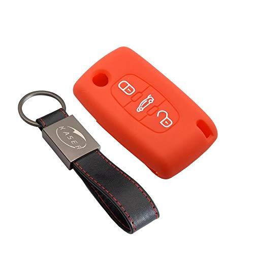 Cover Guscio Chiave Silicone per Peugeot 207 307 407 308 Citroen C1 C2 C3 C4 3 Tasti Portachiavi Custodia Morbido Protezione Telecomando Auto (Arancione)
