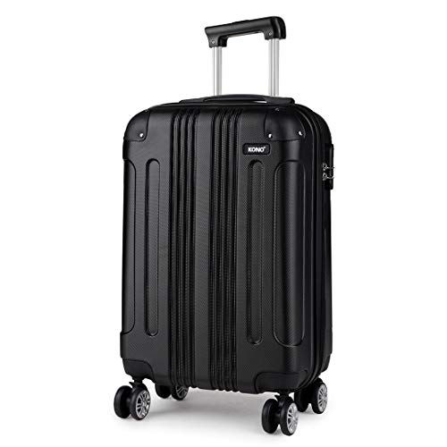 Kono 55x35x20cm Boarding Case Hard Shell ABS Travel Trolley Cabin Hand Luggage Suitcases 33L (Black)