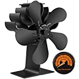 YINXN 5-Blade Heat Powered Stove Fans - for Wood/Log Burner/Fireplace Increases 80% More Warm Air Than 2 Blade Fan Eco-Friendly with Magnetic Thermometer