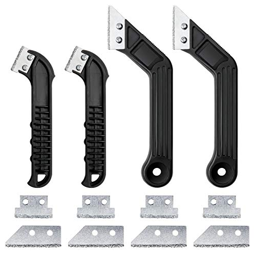 4 Stück Fugenentferner Fugenkratzer Werkzeug mit 8 Ersatzklingen Wolframcarbid Heavy Duty Fliesen Fugen Rechen Werkzeug für Boden Wand Fliesen