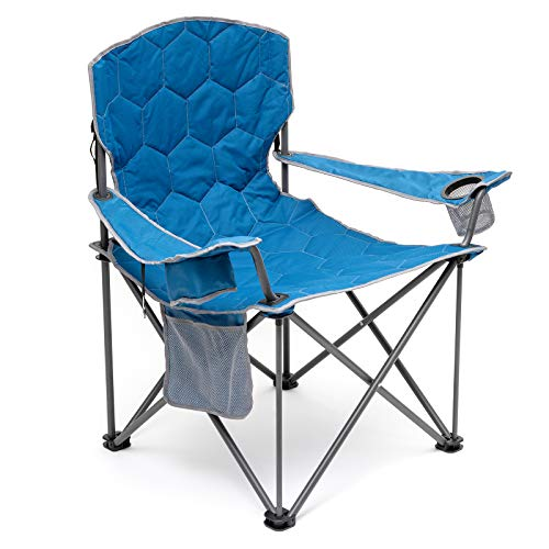 SUNNYFEEL XL Oversized Camping Chair, Heavy Duty, Supports 500 LBS, Padded, Portable Folding Chair with Armrest Cup Holder & Side Pocket for Beach/Outdoor/Travel/Picnic, Storage Camp Chairs (Blue)