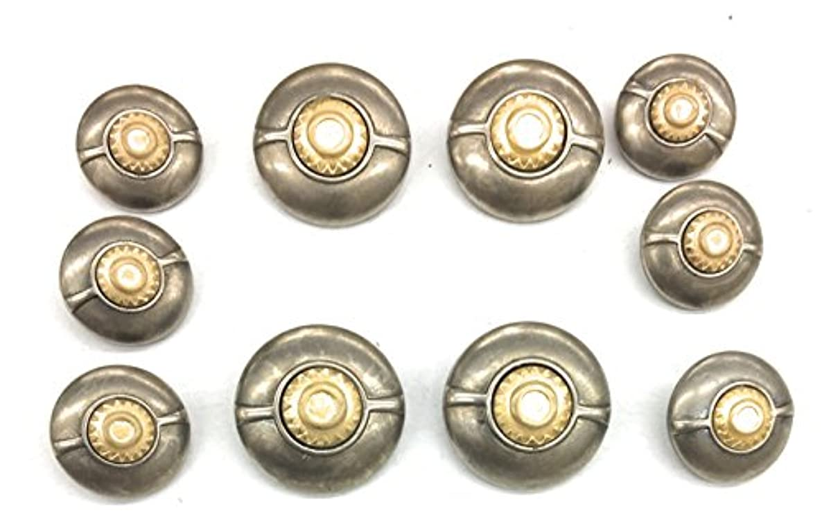 Fashion Gold & Silver Buttons Sets for Coat or Blazer 10 Pc. matte silver buttton