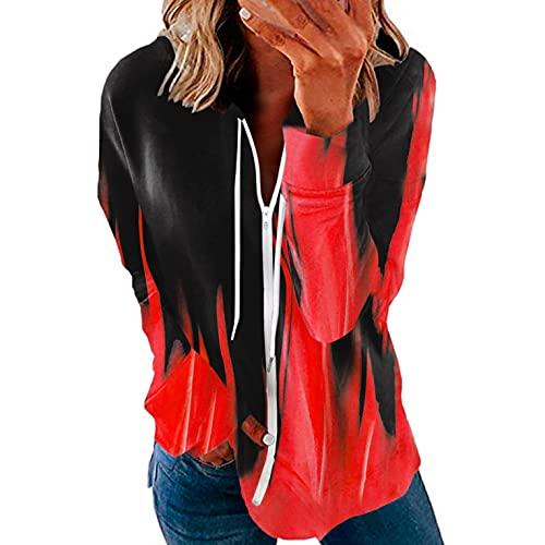 LCLrute - Sudadera de manga larga para mujer, para invierno, con capucha, cuello con capucha, cremallera completa, 01#rojo, S