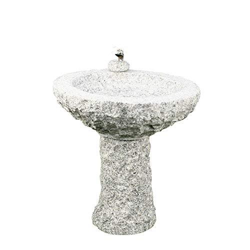 Gebrüder Lomprich Vogelbad aus Granit mit Fuß (1 Steinvogel am Rand sitzend)