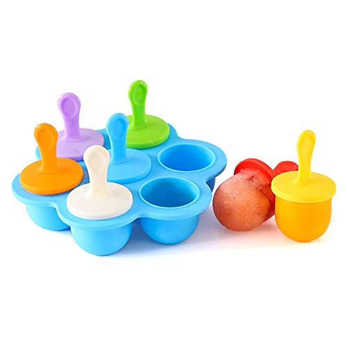 Silicone Ice Popsicle Pop Molds DIY Popsicle Molds 7-Hole Popsicle Mold for kids Baby Food Freezer Trays Colorful DIY Ice Cream Maker Non-Stick Ice Pop Maker Blue