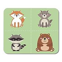 フラットヒグマレッドフォックスグレーアライグマとオオカミマウスマットマウスパッドとかわいい漫画の森林動物ステッカーのマウスパッドコレクション