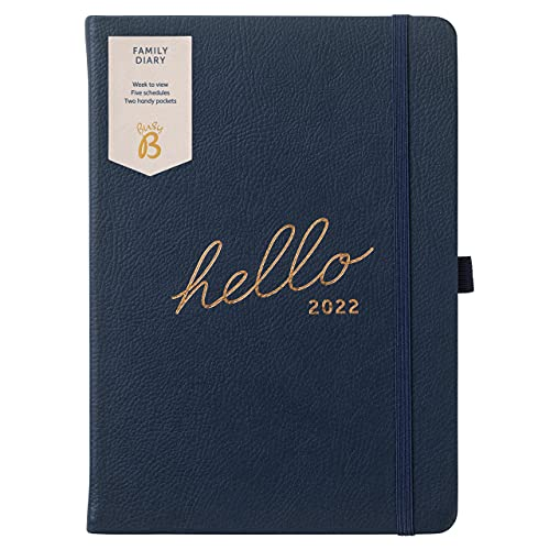 Busy B Family Diary January to December 2022 – A5 Navy Faux Leather Week to View Diary with Space for 5 Schedules & Tear-Out Notes
