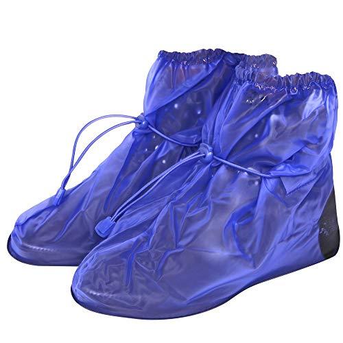 PERLETTI Wasserdichte Schuhüberzieher aus PVC - stabil und wiederverwendbar - mit rutschfester und verstärkter Sohle - Galoschen für Regen, Schnee und Matsch - Überschuhe - Klein (S (36-39), Blau)