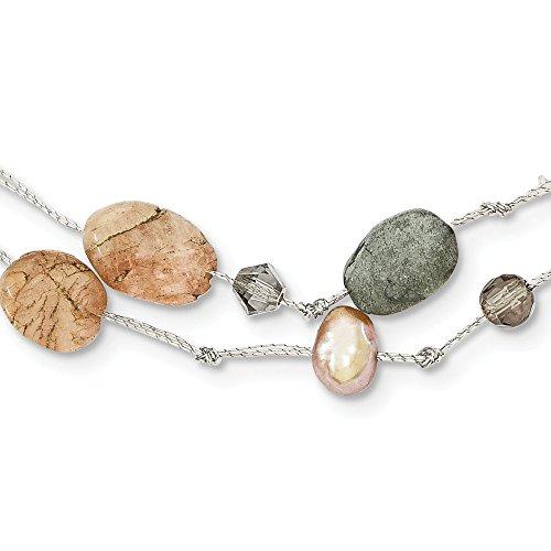 RoseCharm - Collar de cristal y labradorita, piedra lunar roja, perla cultivada FW