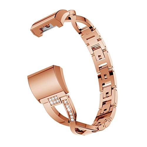 XIALEY Bandas De Repuesto Compatible con Fitbit Charge 2, Reemplazo Pulsera De Acero Inoxidable para Mujer Correas Accesorio Joyería Pulseras De Metal para Charge 2,Rose Gold