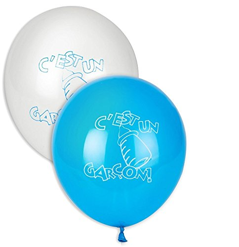 Lot 10 Ballon C est un garcon Decoration 28cm Bleu et Blanc - 5218-FRA