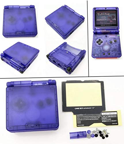 RGRS Replacement Transparent Clear Blue Full Housing Shell Case Repair Parts Kit w/Lens & Screwdriver for Nintendo Gameboy Advance SP GBA SP Console…