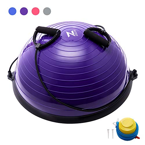 ZELUS Balance Ball Trainer Half Yoga Exercise Ball with Resistance Bands and Foot Pump for Yoga Fitness Home Gym Workout Purple