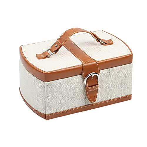 Almacenamiento de joyas Oganizer Caja de joyería de lino minimalista europea, 3 capas de gran capacidad con asa, caja de almacenamiento de adornos portátiles, regalo para mujeres para novia Para niñas