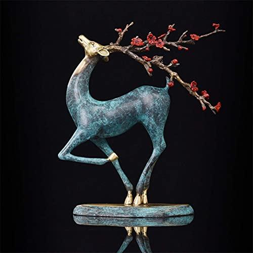 ZHOUJ Oficina Ktv Decoración Ciervo Estatua Bronce Vintage Artesanía Escultura Cobre Estatua Pascua Festival Regalo Adornos