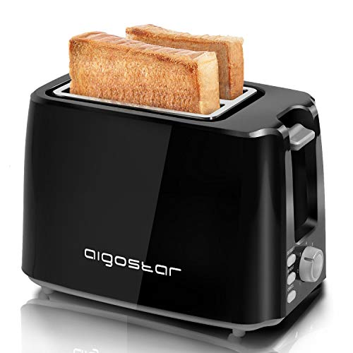 Aigostar 2-Slice Toaster, 750W, 7 Variable Browning Settings, Defrost, Reheat and Cancel Functions, Auto Shut-Off, Black, BPA Free - Warrior 30KHK.