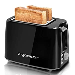 Aigostar 2-Slice Toaster, 750W, 7 Variable Browning Settings, Defrost, Reheat and Cancel Functions, Auto Shut-Off, Black, BPA Free – Warrior 30KHK.