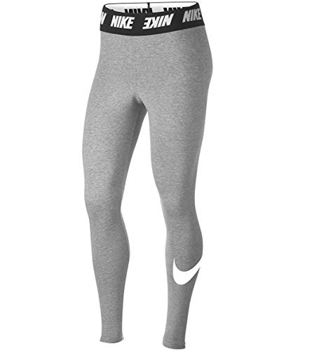 Nike Legging Club HW, Leggings Donna, Grigio (Dark Grey Heather/White 063), 48 (Taglia Produttore: Large)