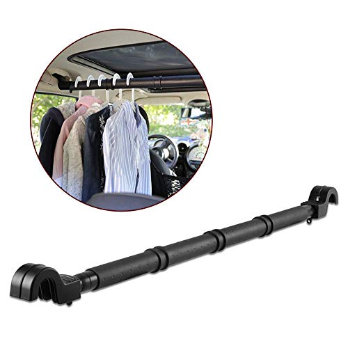 LITTLEMOLE Car Clothes Hanger Bar, Expandable Vehicle Clothing Rod Garment Rack Holder, Heavy Duty Metal and Rubber Grips