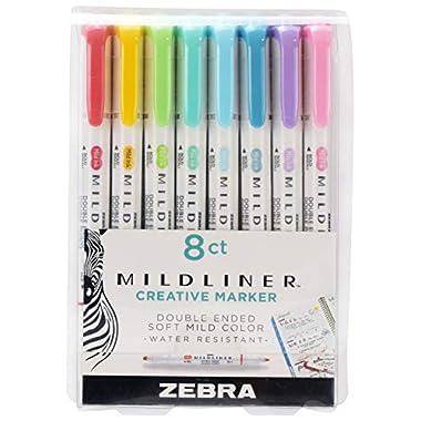 Zebra Pen Mildliner Double Ended Highlighter Set, Broad and Fine Point Tips, Assorted Ink Planner Colors, 8-Pack (78108)