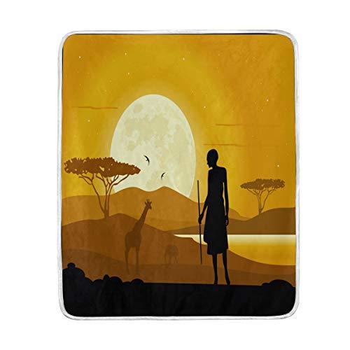 Use7 Wohndeko Afrika Landschaft Giraffe Sonnenuntergang Decke weich warme Decken für Bett Couch Sofa leicht Reisen...