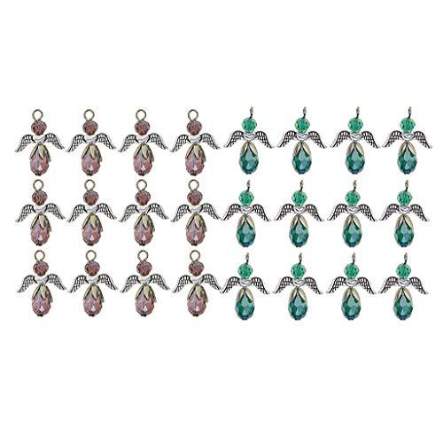 Milageto 24 Piezas Encantos de ángel de Cristal Caliente Gota de Agua Colgantes de Hadas Manualidades Regalos