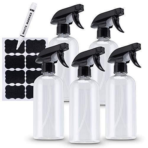 Kamoro HOME & KITCHEN Juego de 5 botellas pulverizadoras de plástico de 500 ml con etiquetas negras y lápiz – Ideal para plantas, jardín, planchado o como dispensador desinfectante – 2 modos