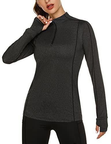 Fipput Camiseta Deporte Mujer de Manga Larga Camisetas Manga Larga Mujer Secado rápido Sudadera de 1/4 Zip con Agujeros para los Pulgares,Negro,XL