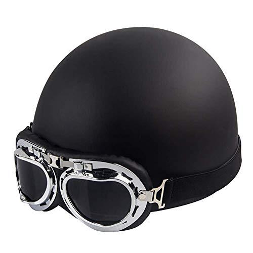 LALEO Retro Harley Offenes Motorradhelm, Jet-Helm, Roller-Helm, Damen und Herren ECE Genehmigt Schwarz, Blau, Pink, Weiß (54-60cm),Black