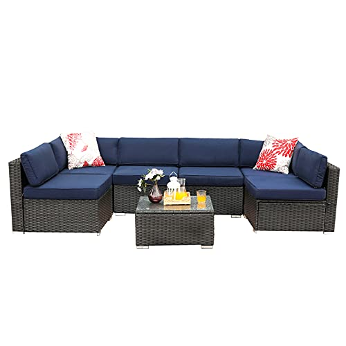 PHI VILLA Outdoor Sectional Furniture 7 Piece Patio Sofa Set Low-Back Rattan Wicker Conversation Set (Navy Blue)