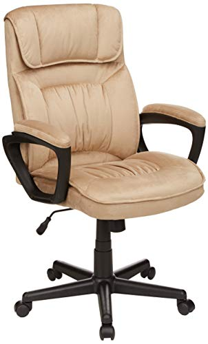 AmazonBasics Classic Office Desk Computer Chair - Adjustable, Swiveling, Ultra-Soft Microfiber - Light Beige, Lumbar Support, BIFMA Certified brown chair gaming