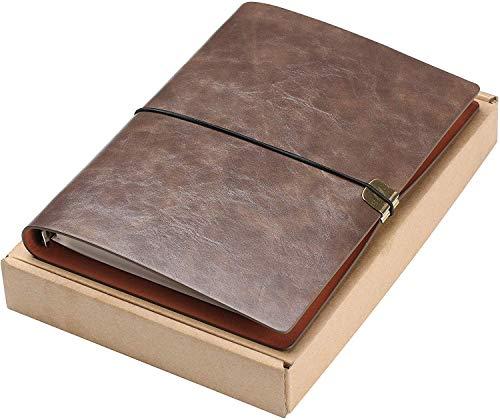 Diario de Escritura de Cuero A5 Viajeros Recargables Cuaderno Cuaderno Diario Cuaderno de Bocetos Vintage Navidad Regalos de San Valentín Cumpleaños de Bodas Regalos de Jubilación (Marrón Oscu