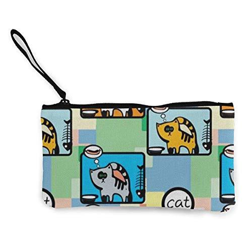 Münzbeutel, Katzen-Box, Leinen, Münzfach, Handy, Kartentasche mit Griff und Reißverschluss