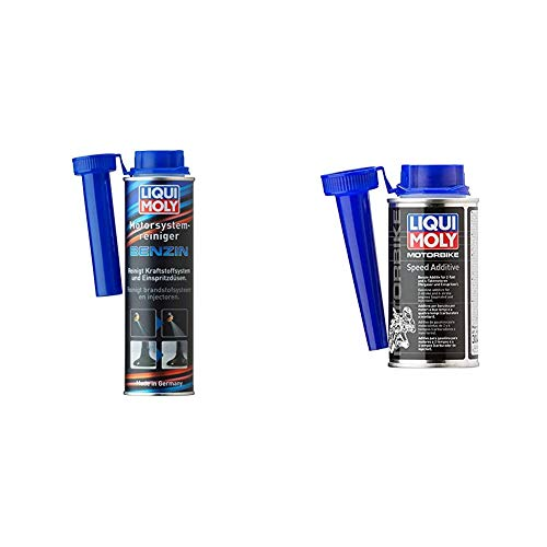 LIQUI MOLY 5129 Motor System Reiniger Benzin, 300 ml & 3040 Motorbike Speed Additive, 150 ml