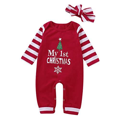 puseky Bebé recién Nacido Niños Niñas Mi Primer Mameluco navideño Trajes y Diadema My First Christmas (0-6 Meses, Red)
