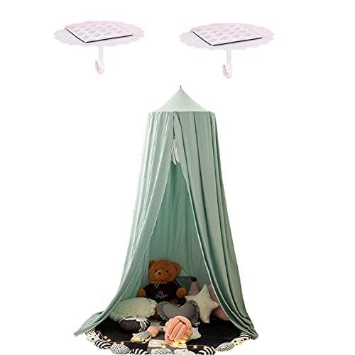 275cm Baby Baldachin Extra groß Betthimmel Kinder Babys Bett Baumwolle Hängende Moskiton für Schlafzimmer Ankleidezimmer Spiel Lesen Zeit Höhe 275 cm (Grün)