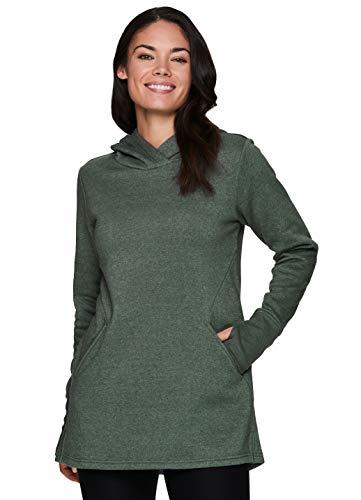 RBX Active Women's Long Sleeve Fleece Hooded Tunic Pullover Sweatshirt Hoodie with Pocket Hood Olive Green S
