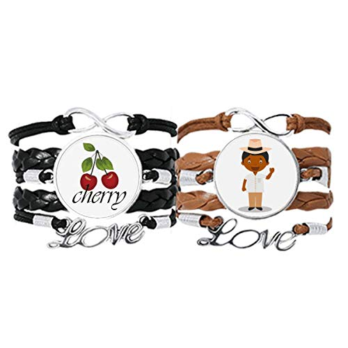 Bestchong Armband mit Hut, schwarz, Kuba, Cartoon, Art-Deco, Geschenk, modisch, Handschlaufe, Lederseil, Kirschen-Liebesarmband, Doppel-Set