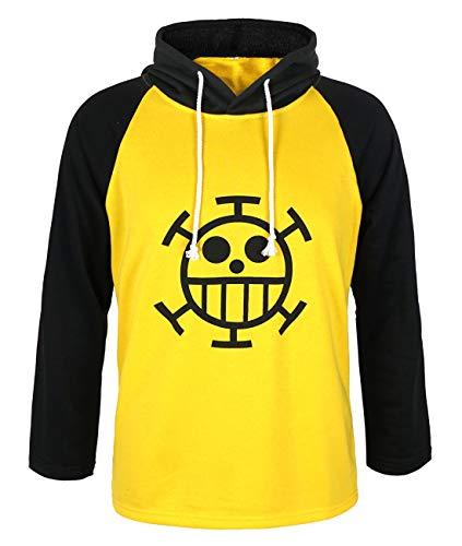 CoolChange One Piece Trafalgar Law Kapuzen Longsleeve mit Jolly Roger der Heart Piratenbande (Medium)