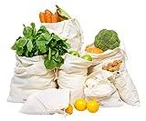 Cotton Produce Bags - Reusable Produce Bag Muslin - Cotton Vegetable Bags - Muslin Produce Bags - Organic Cloth Produce Bags - Cotton Bread Bag - Swag Produce Bag (Set of 7 (XXL, XL, L, M, S, XS)