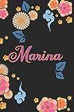 Marina: Diario / Libreta de Notas Cuaderno con 100 Páginas 6x9' (15x23cm)   Páginas con Rayas Horizontales y en Blanco   Regalo Perfecto Para mujeres y niñas con Patrón de flores chinas.