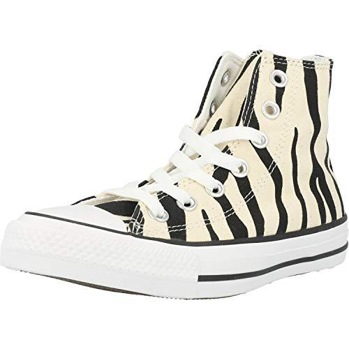 Converse Chuck Taylor All Star Zebra Print Hi Negro/Beige (Black/Greige) Tela Adulto Entrenadores Zapatos