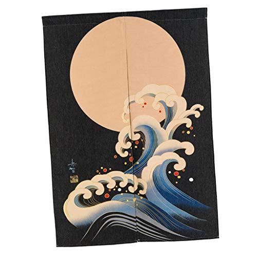 Serenable Estilo Japonês Porta Noren Japão Padrão Quarto Longas Cortinas Meia - Sol amarelo e onda s