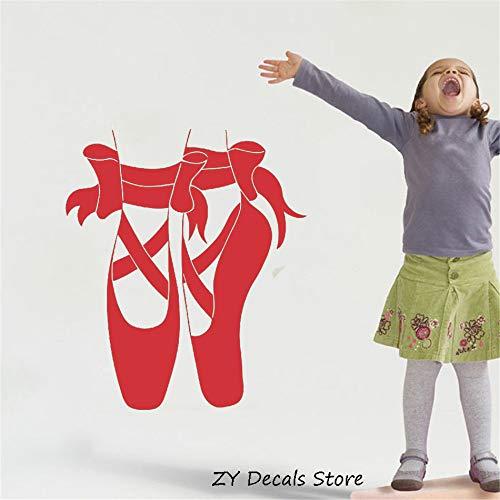 ShiyueNB Baby Room Decor Stickers Vinyl Muursticker Ballerina schoenen voor balletpunten kamerdecoratie Afneembare muurtattoo kinderen 56 X 65 CM Bb