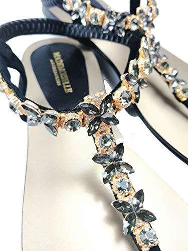 Sandalias para mujer con piedras brillantes de cristal para eventos, verano o playa, con correa en T, color Negro, talla 36/40 EU Schmal