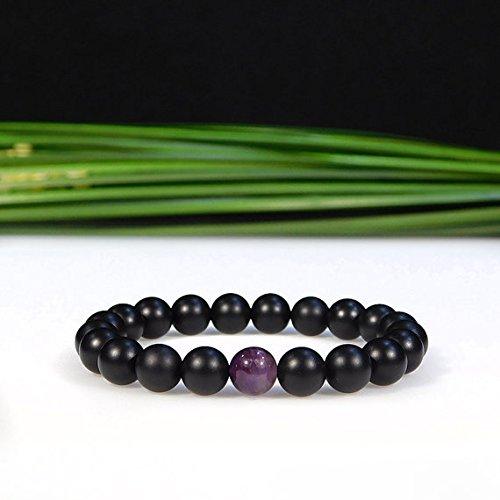 World Wide Gems Artisan Loose Pulsera de amatista negra y morada elástica y ónix mate, de 8 mm, lisa, para hombres, mujeres, gf, bf y adulto.