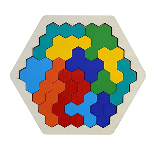 Wooden Hexagon Puzzles for Kids Adults Shape Pattern Block Tangram Brain Teaser Toy Geometry Logic IQ Game Stem Montessori Educational Gift for All Ages Challenge