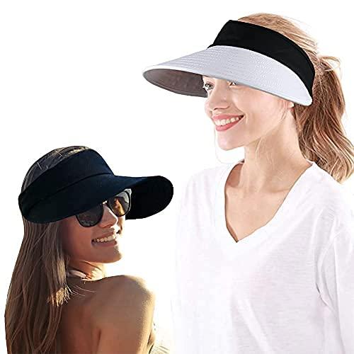 2 sombreros de visera de ala ancha para mujer, protección UV grande, gorra de playa de golf, 1 negro + 1 mezclado, Talla única